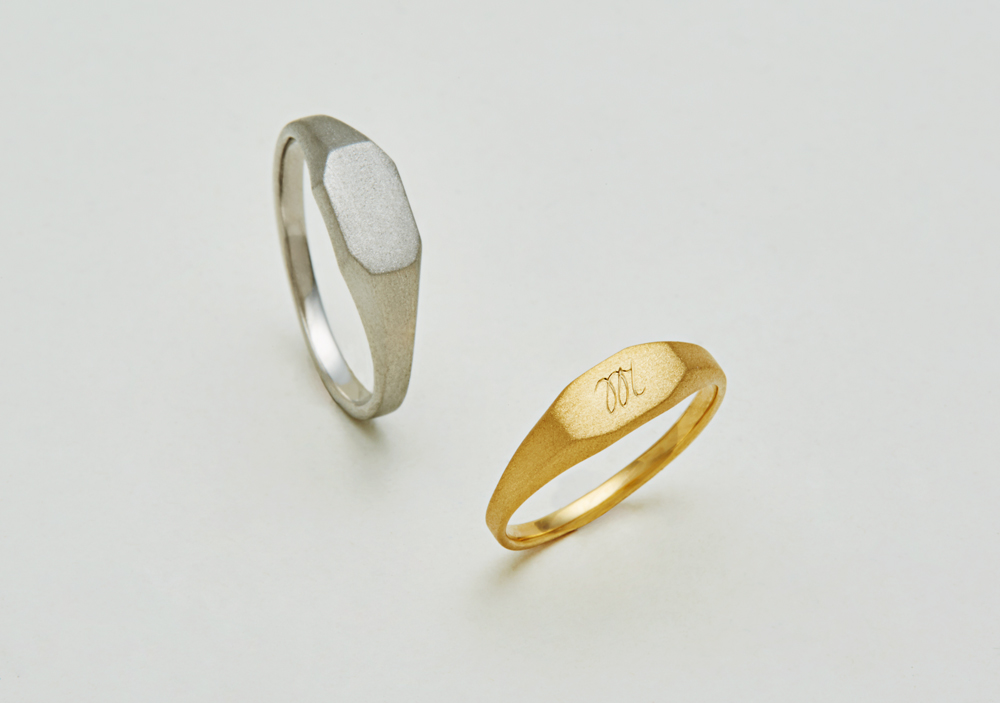 "Marriage ring-M-007〔 Octagon Signet Ring 〕"" Proof  of promise with me. "" / men's:PT900 135,000~/ women's:K18YG 110,000~"